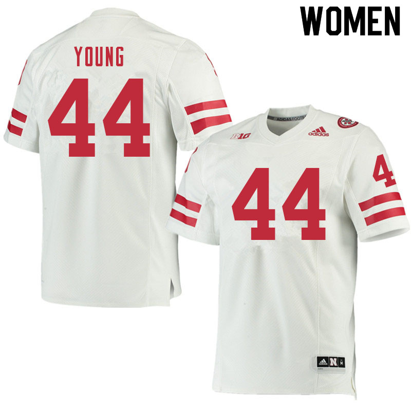 Women #44 Aiden Young Nebraska Cornhuskers College Football Jerseys Sale-White