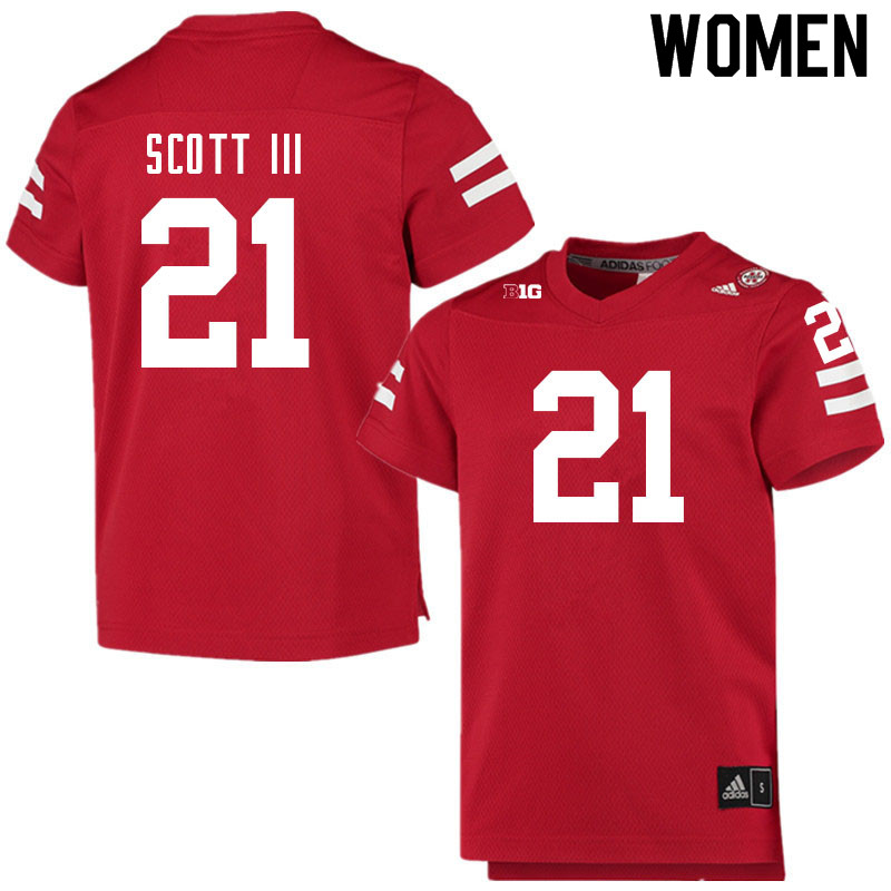Women #21 Marvin Scott III Nebraska Cornhuskers College Football Jerseys Sale-Scarlet