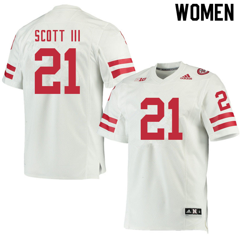 Women #21 Marvin Scott III Nebraska Cornhuskers College Football Jerseys Sale-White