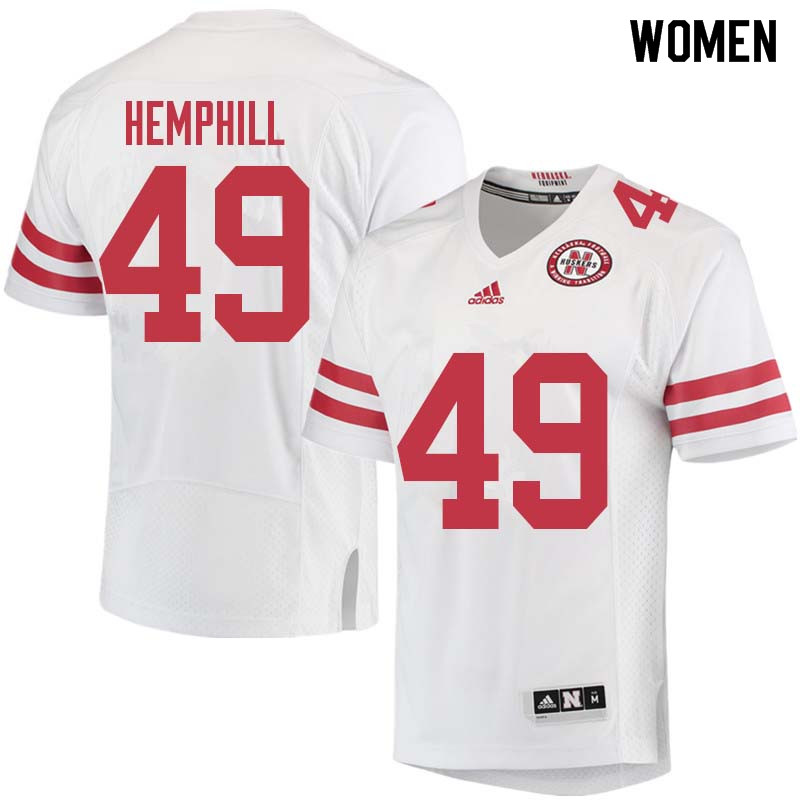 Women #49 Austin Hemphill Nebraska Cornhuskers College Football Jerseys Sale-White