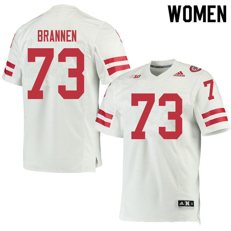 Women #73 Baylor Brannen Nebraska Cornhuskers College Football Jerseys Sale-White