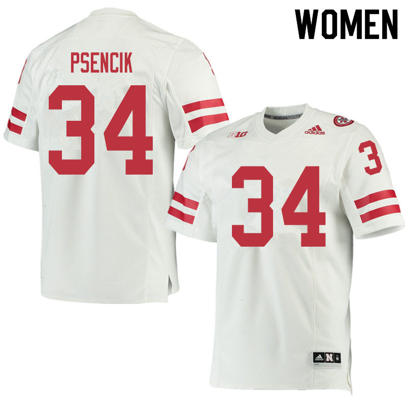 Women #34 Beau Psencik Nebraska Cornhuskers College Football Jerseys Sale-White