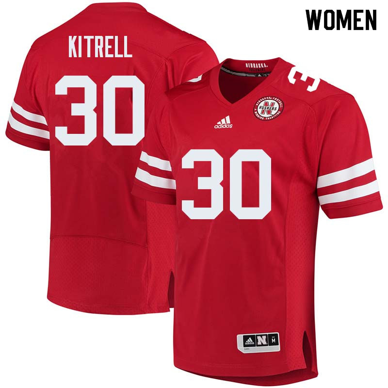 Women #30 Bo Kitrell Nebraska Cornhuskers College Football Jerseys Sale-Red