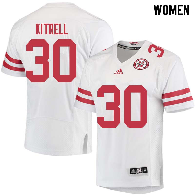 Women #30 Bo Kitrell Nebraska Cornhuskers College Football Jerseys Sale-White