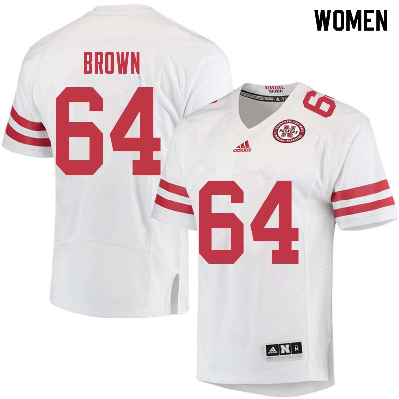 Women #64 Bob Brown Nebraska Cornhuskers College Football Jerseys Sale-White