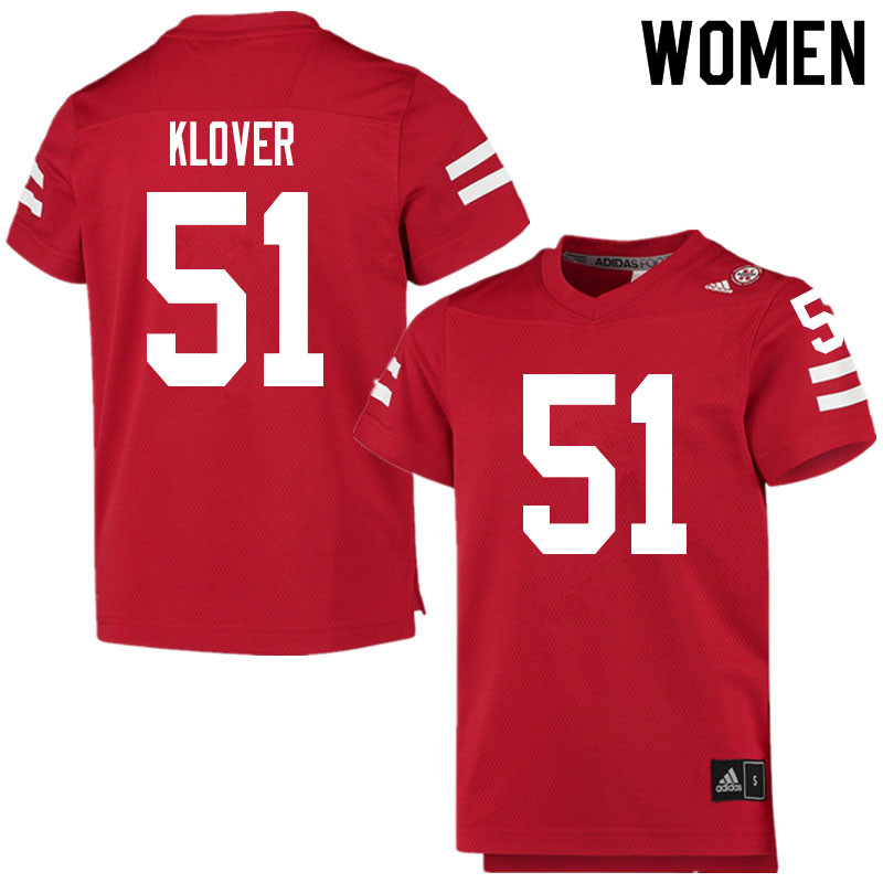 Women #51 Braden Klover Nebraska Cornhuskers College Football Jerseys Sale-Scarlet