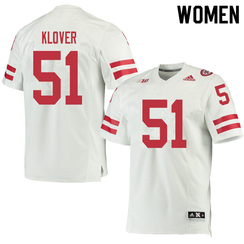 Women #51 Braden Klover Nebraska Cornhuskers College Football Jerseys Sale-White