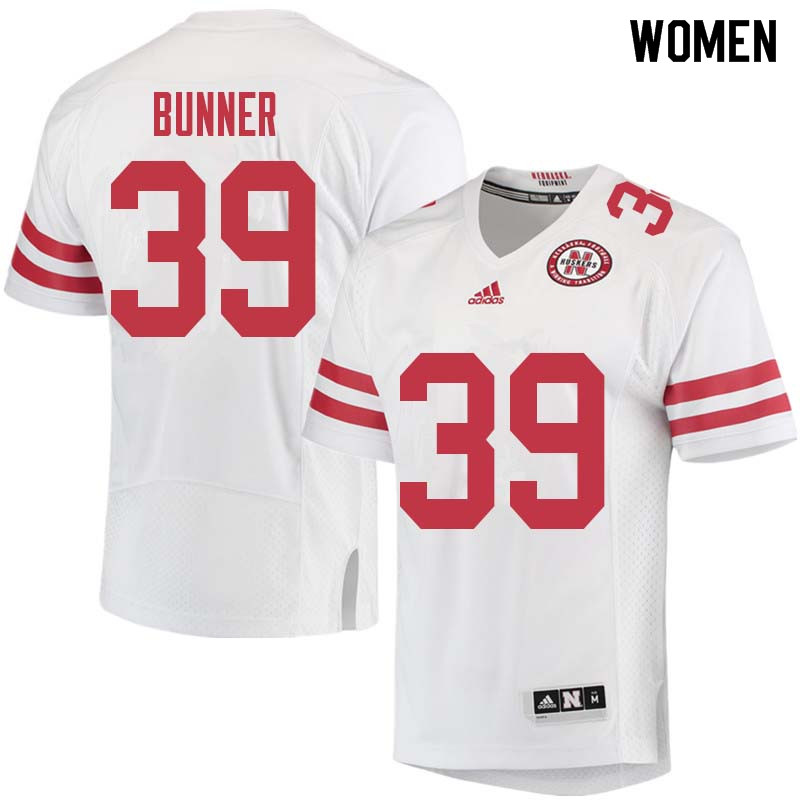 Women #39 Bradley Bunner Nebraska Cornhuskers College Football Jerseys Sale-White
