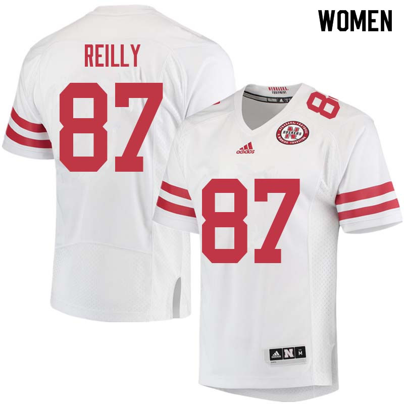 Women #87 Brandon Reilly Nebraska Cornhuskers College Football Jerseys Sale-White