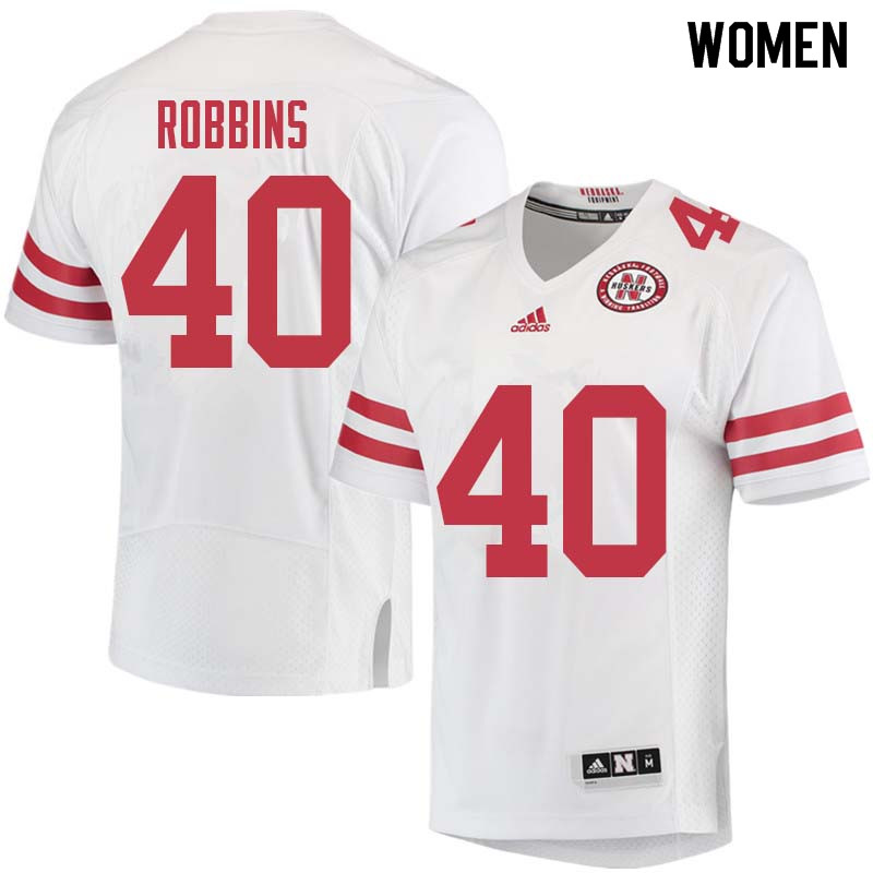 Women #40 Brandon Robbins Nebraska Cornhuskers College Football Jerseys Sale-White