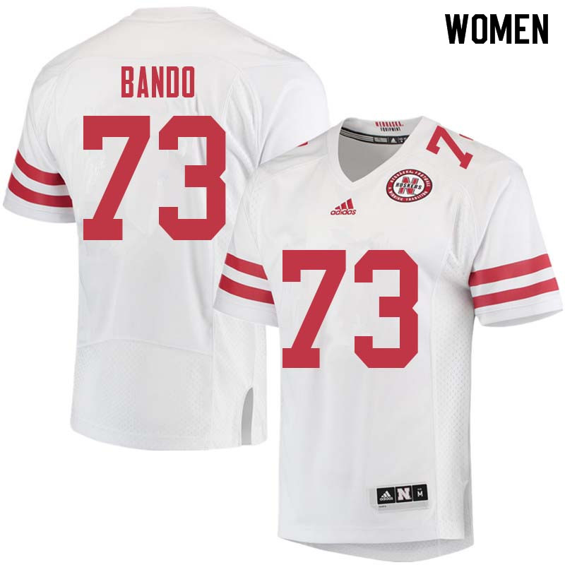 Women #73 Broc Bando Nebraska Cornhuskers College Football Jerseys Sale-White