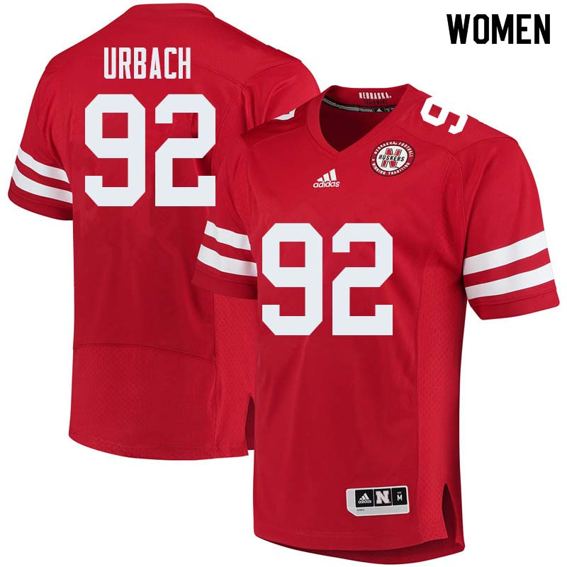 Women #92 Chase Urbach Nebraska Cornhuskers College Football Jerseys Sale-Red