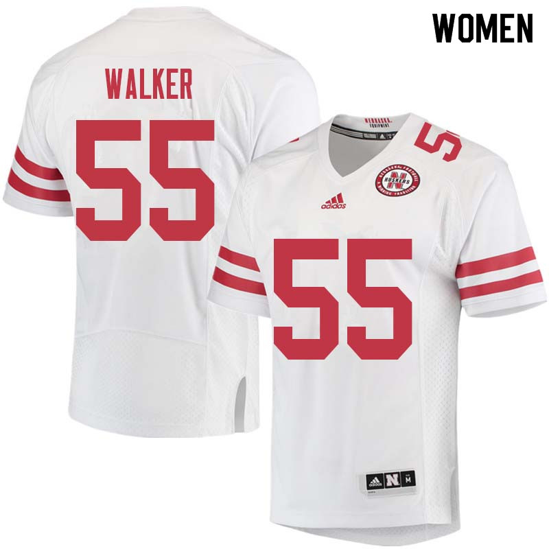Women #55 Chris Walker Nebraska Cornhuskers College Football Jerseys Sale-White