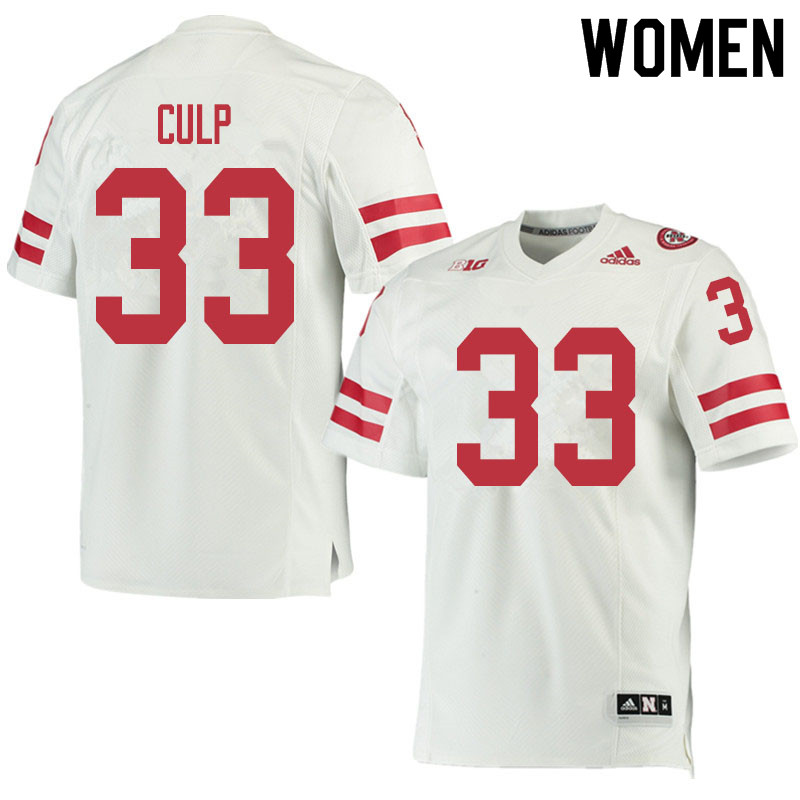 Women #33 Connor Culp Nebraska Cornhuskers College Football Jerseys Sale-White