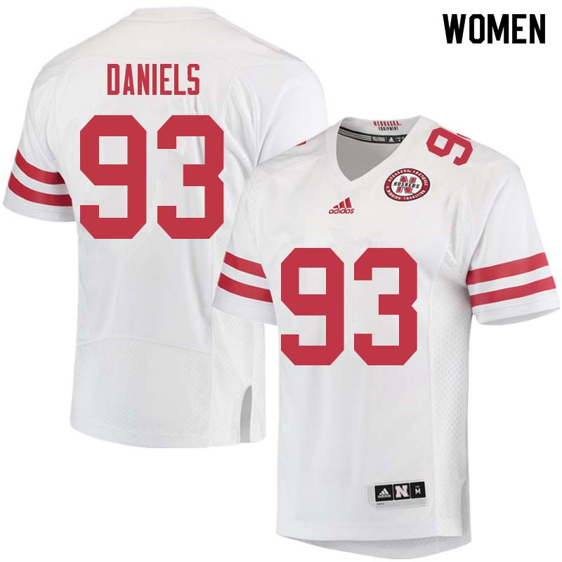 Women #93 Damion Daniels Nebraska Cornhuskers College Football Jerseys Sale-White