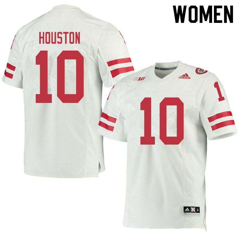 Women #10 Demariyon Houston Nebraska Cornhuskers College Football Jerseys Sale-White