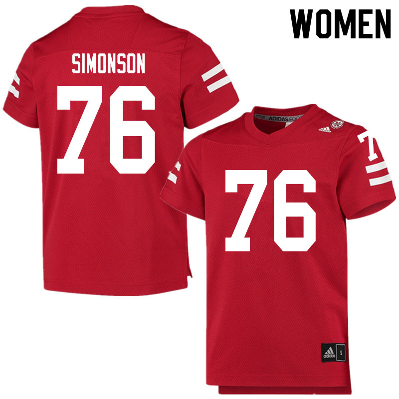 Women #76 Eli Simonson Nebraska Cornhuskers College Football Jerseys Sale-Scarlet