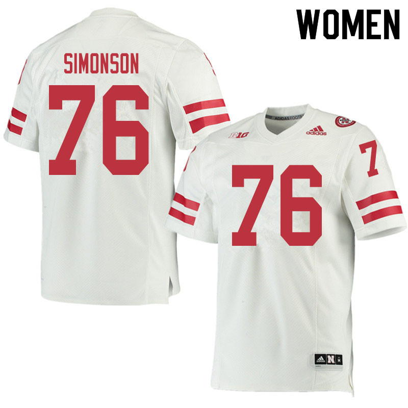 Women #76 Eli Simonson Nebraska Cornhuskers College Football Jerseys Sale-White