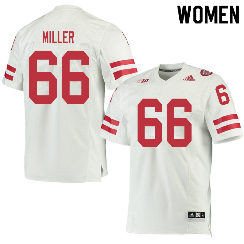 Women #66 Ezra Miller Nebraska Cornhuskers College Football Jerseys Sale-White
