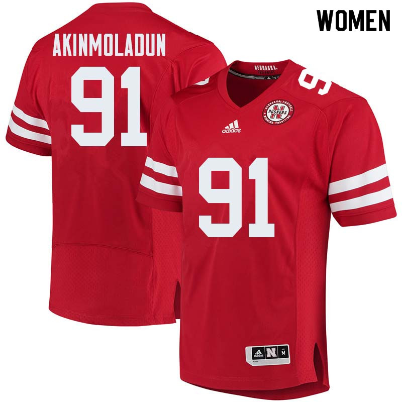 Women #91 Freedom Akinmoladun Nebraska Cornhuskers College Football Jerseys Sale-Red