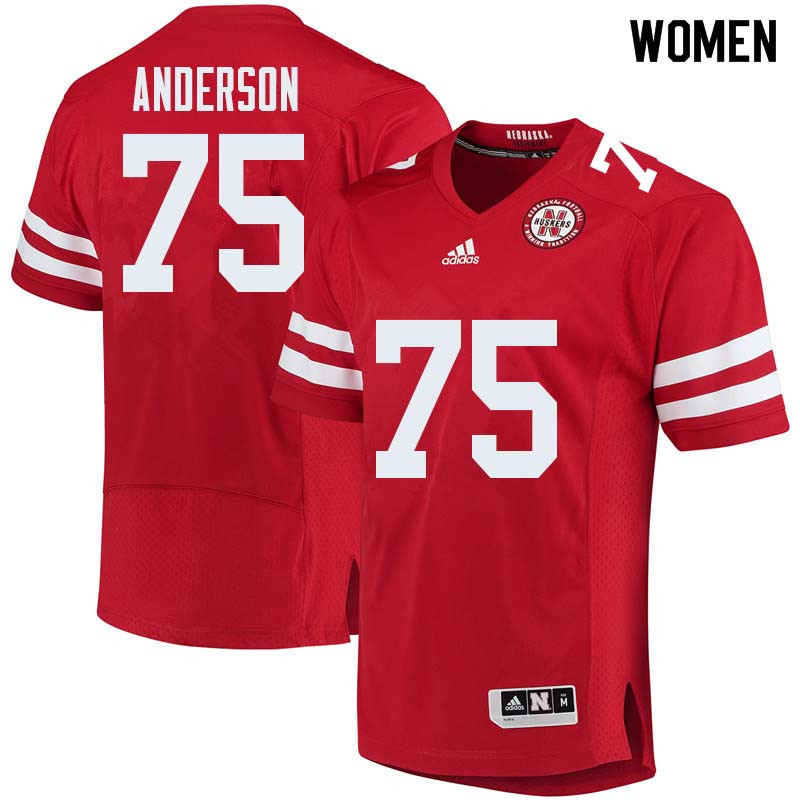 Women #75 Fyn Anderson Nebraska Cornhuskers College Football Jerseys Sale-Red