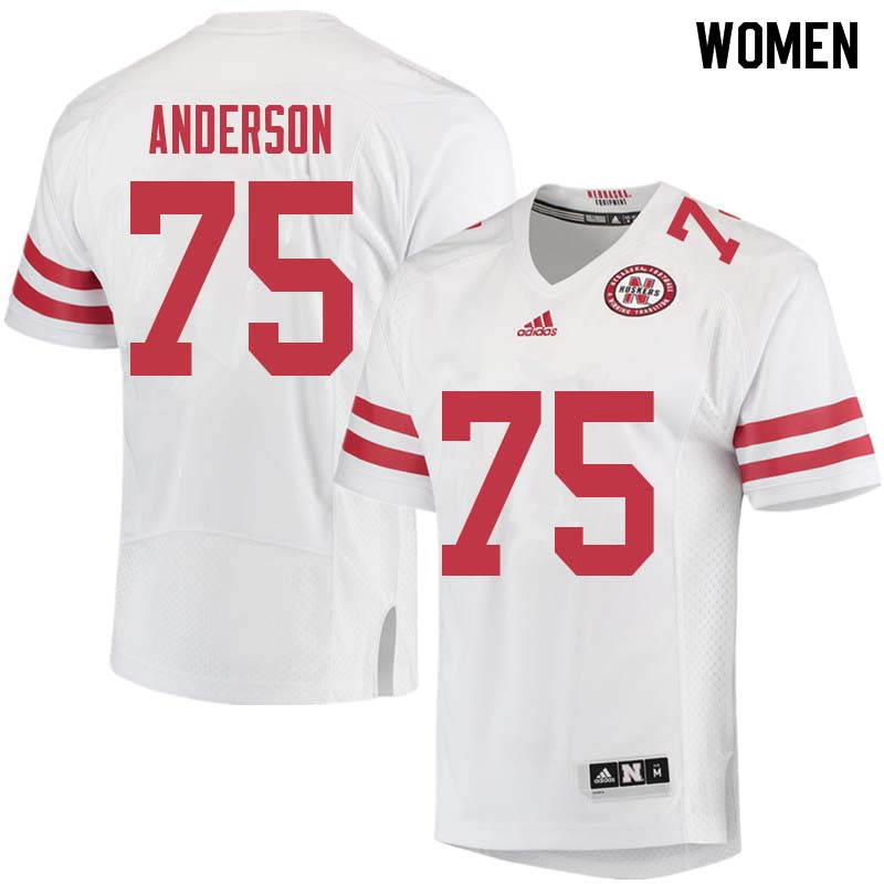 Women #75 Fyn Anderson Nebraska Cornhuskers College Football Jerseys Sale-White