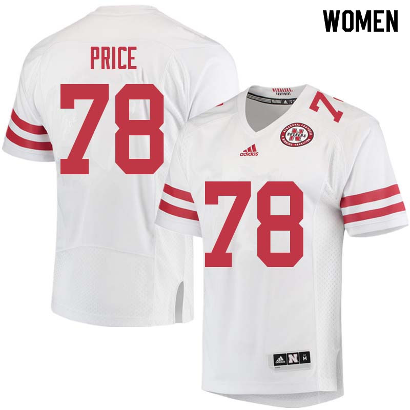 Women #78 Givens Price Nebraska Cornhuskers College Football Jerseys Sale-White