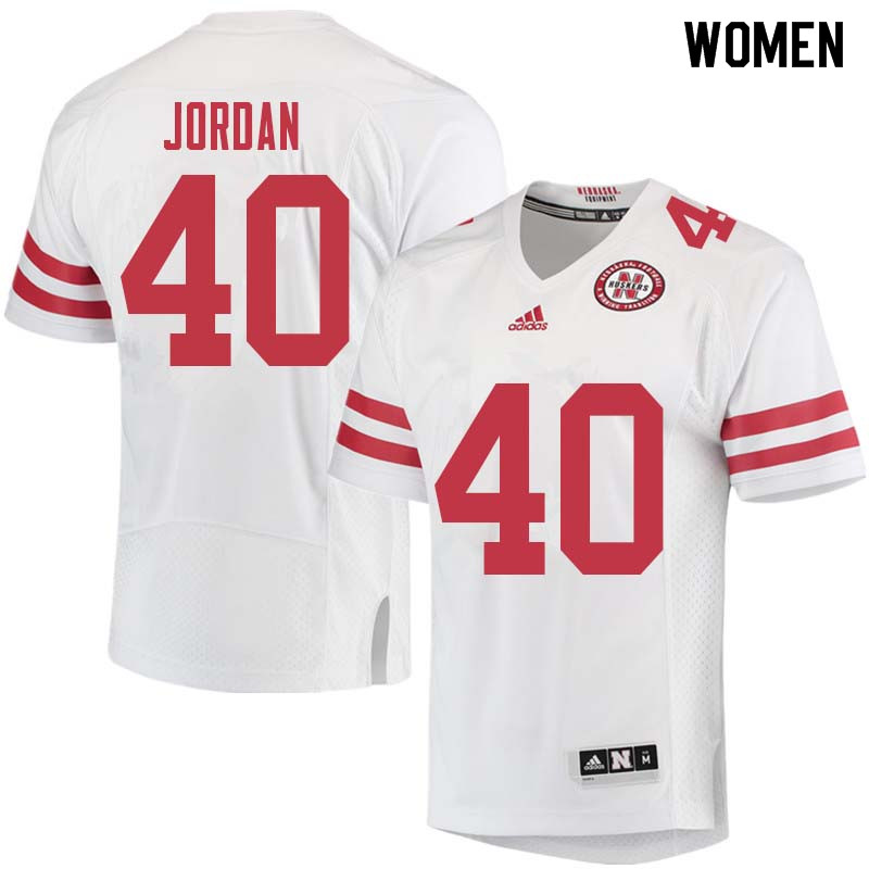 Women #40 Grant Jordan Nebraska Cornhuskers College Football Jerseys Sale-White