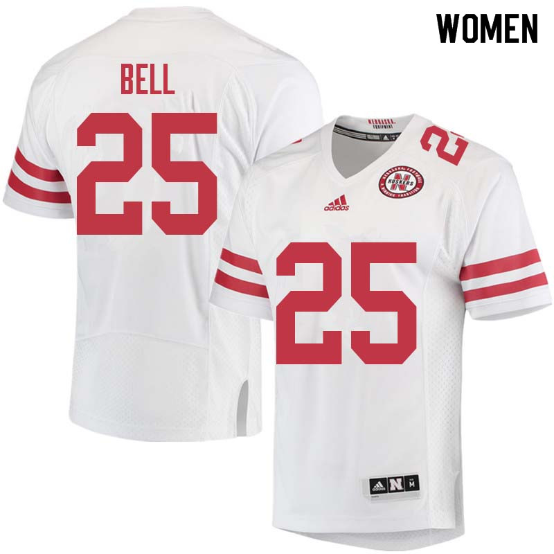Women #25 Greg Bell Nebraska Cornhuskers College Football Jerseys Sale-White