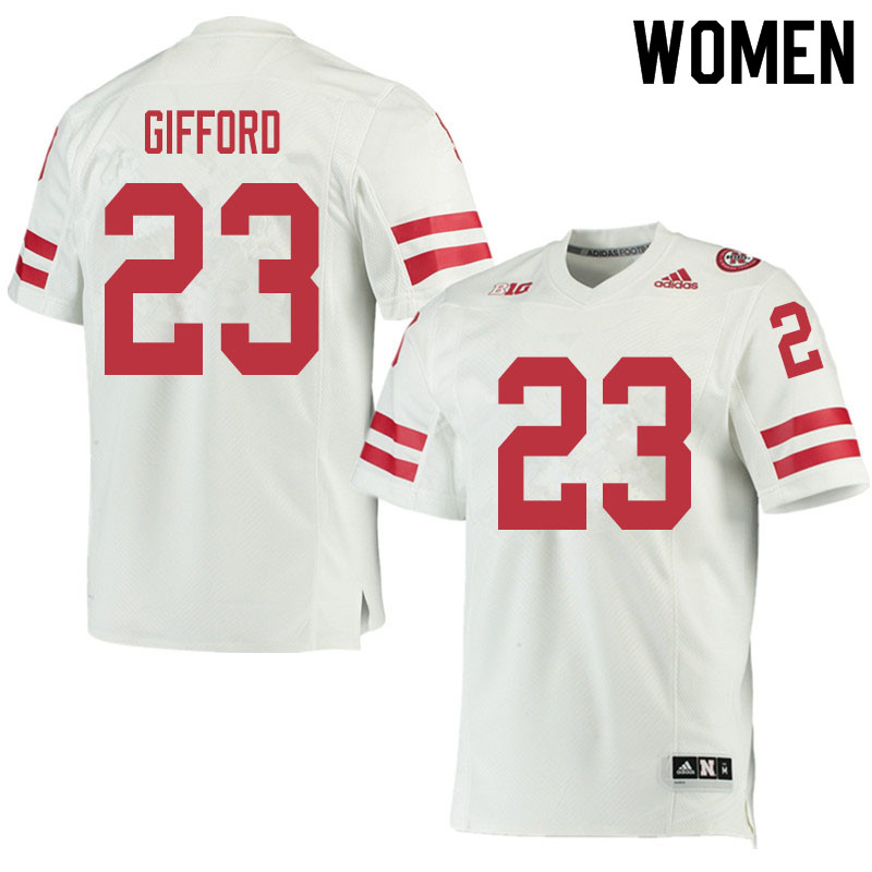 Women #23 Isaac Gifford Nebraska Cornhuskers College Football Jerseys Sale-White