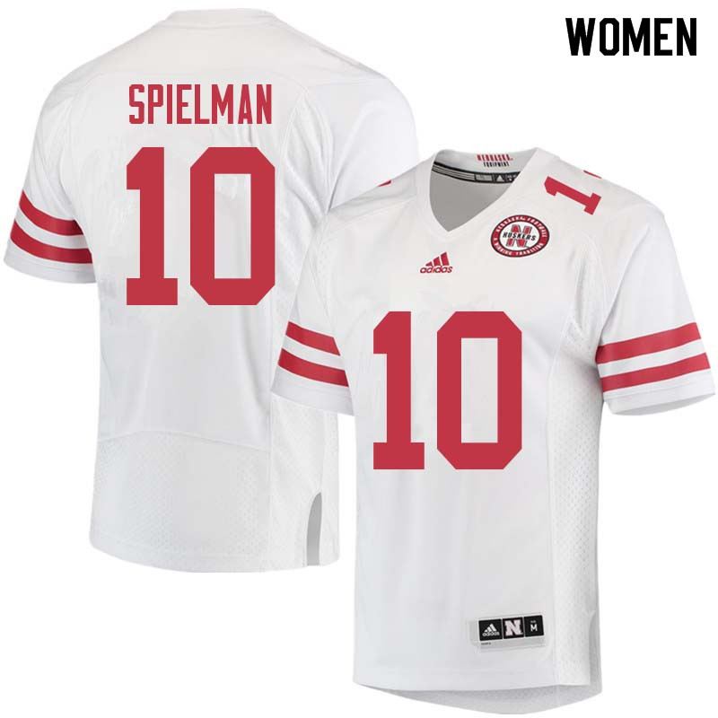 Women #10 JD Spielman Nebraska Cornhuskers College Football Jerseys Sale-White