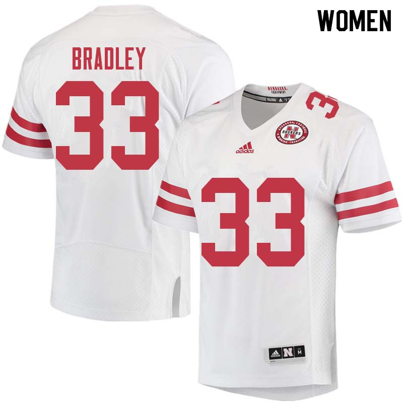 Women #33 Jaylin Bradley Nebraska Cornhuskers College Football Jerseys Sale-White