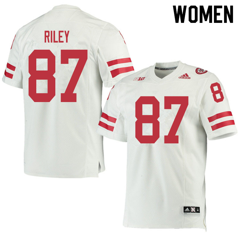 Women #87 Jordon Riley Nebraska Cornhuskers College Football Jerseys Sale-White