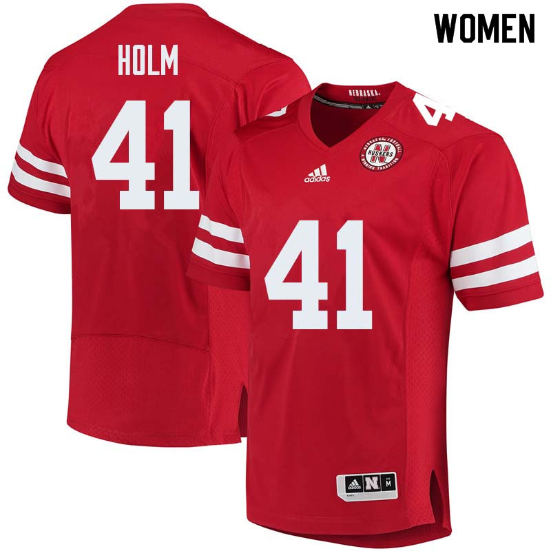 Women #41 Justin Holm Nebraska Cornhuskers College Football Jerseys Sale-Red