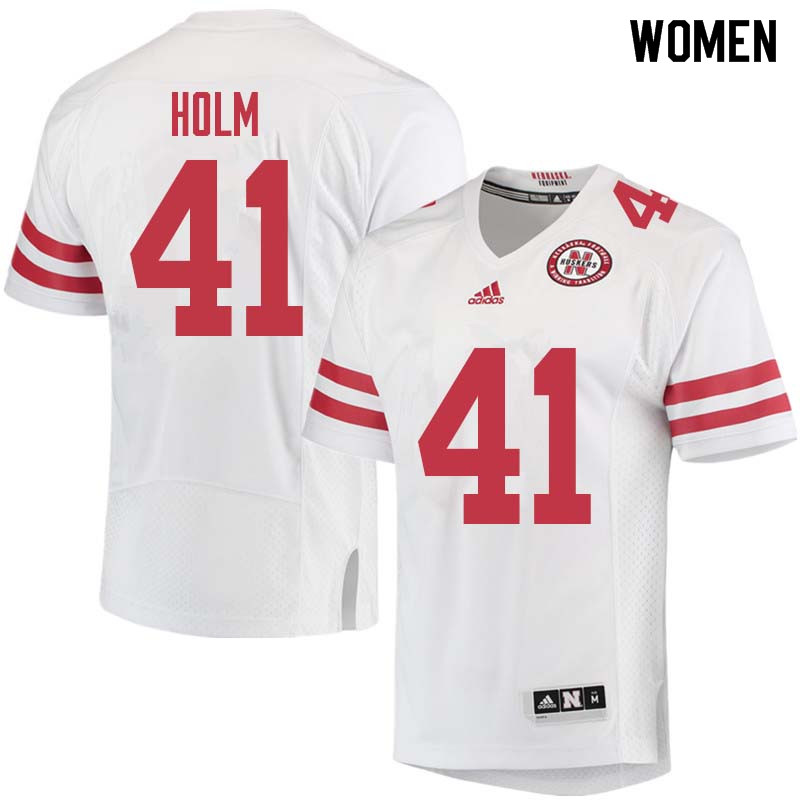 Women #41 Justin Holm Nebraska Cornhuskers College Football Jerseys Sale-White