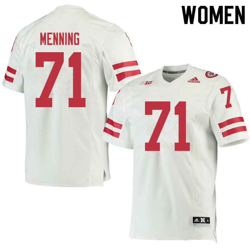 Women #71 Keegan Menning Nebraska Cornhuskers College Football Jerseys Sale-White