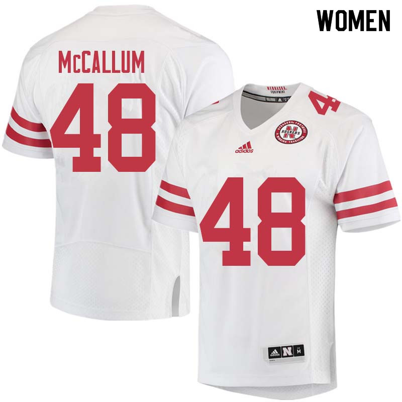 Women #48 Lane McCallum Nebraska Cornhuskers College Football Jerseys Sale-White