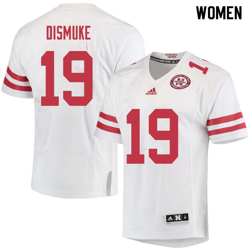 Women #19 Marquel Dismuke Nebraska Cornhuskers College Football Jerseys Sale-White