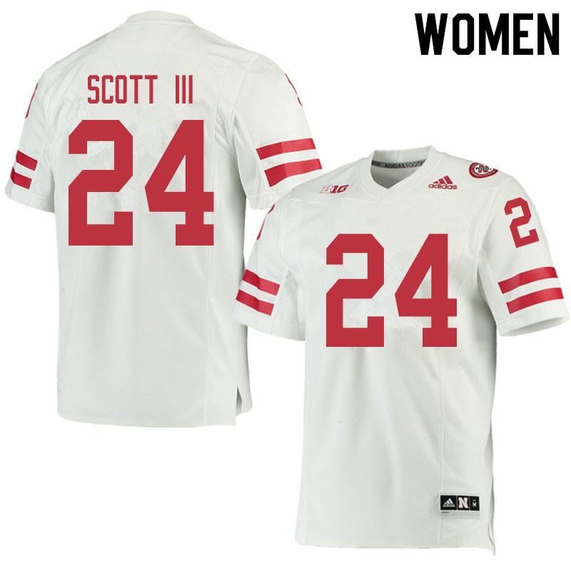 Women #24 Marvin Scott III Nebraska Cornhuskers College Football Jerseys Sale-White
