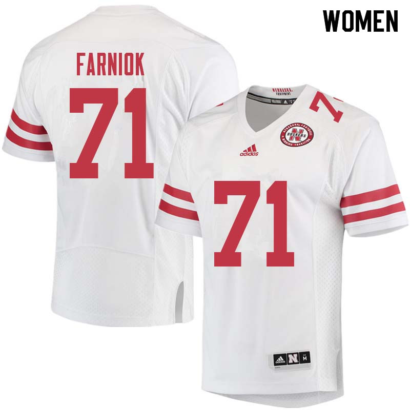Women #71 Matt Farniok Nebraska Cornhuskers College Football Jerseys Sale-White