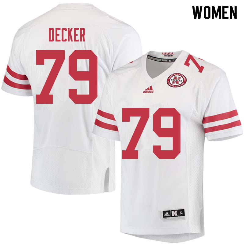 Women #79 Michael Decker Nebraska Cornhuskers College Football Jerseys Sale-White