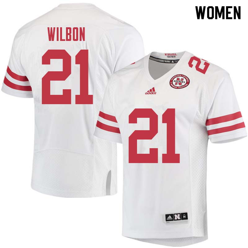 Women #21 Mikale Wilbon Nebraska Cornhuskers College Football Jerseys Sale-White