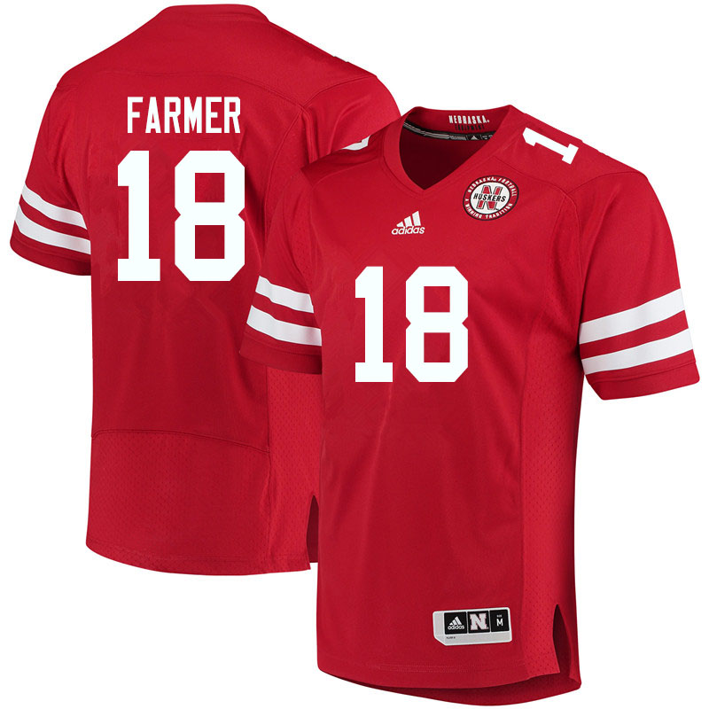 Women #18 Myles Farmer Nebraska Cornhuskers College Football Jerseys Sale-Red