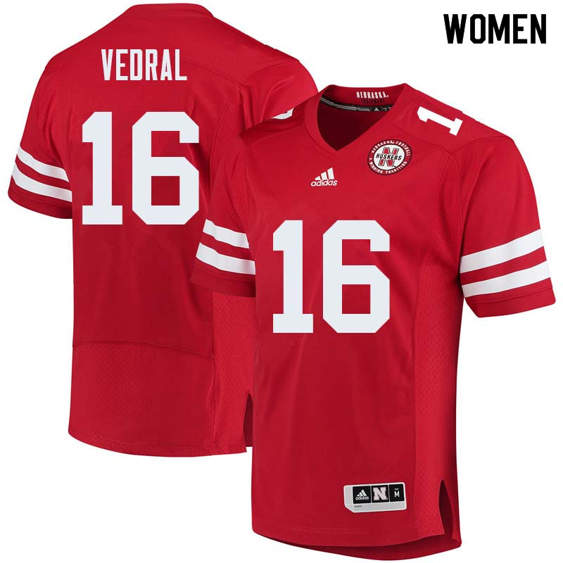 Women #16 Noah Vedral Nebraska Cornhuskers College Football Jerseys Sale-Red