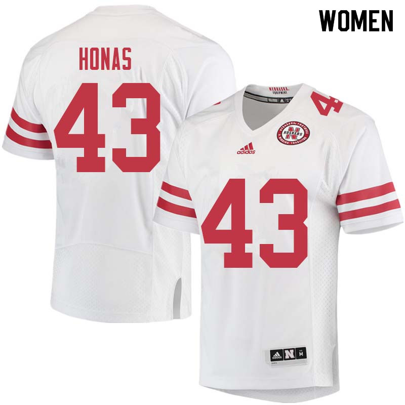 Women #43 Todd Honas Nebraska Cornhuskers College Football Jerseys Sale-White