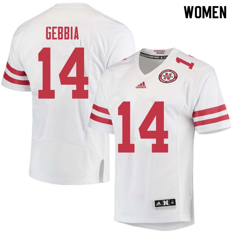 Women #14 Tristan Gebbia Nebraska Cornhuskers College Football Jerseys Sale-White