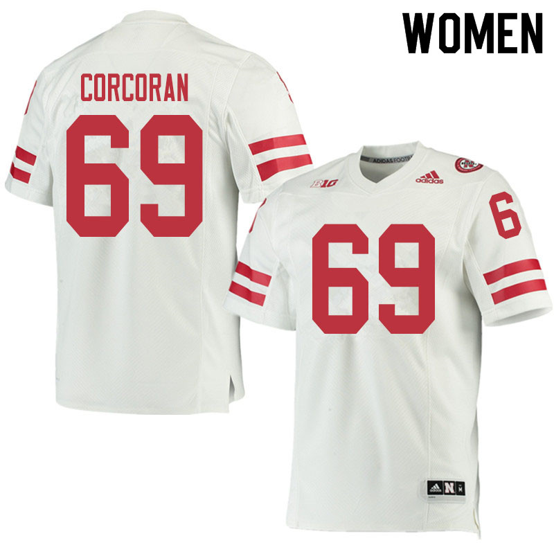 Women #69 Turner Corcoran Nebraska Cornhuskers College Football Jerseys Sale-White