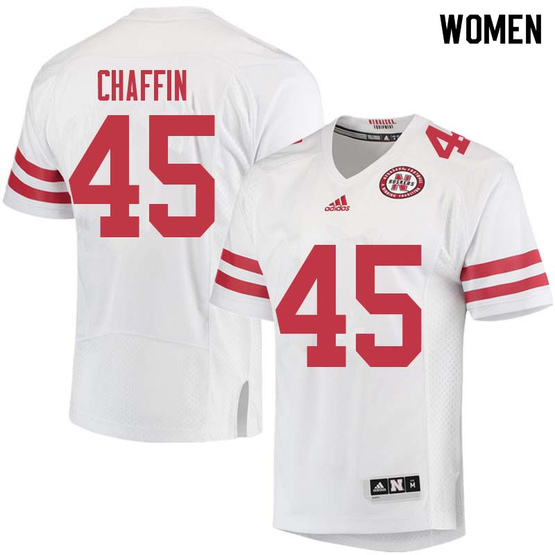 Women #45 Ty Chaffin Nebraska Cornhuskers College Football Jerseys Sale-White