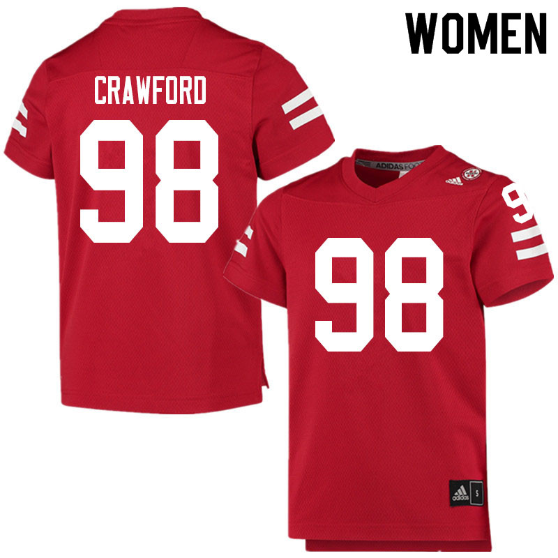 Women #98 Tyler Crawford Nebraska Cornhuskers College Football Jerseys Sale-Scarlet