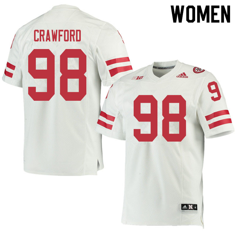 Women #98 Tyler Crawford Nebraska Cornhuskers College Football Jerseys Sale-White